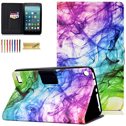 Dteck Folio Case for Fire 7 2017/ Fire 7 2015 - Dteck Nice Cute Slim Case PU Leather Smart Cover Protector with Pocket Stand Stylus for Amazon Kindle Fire 7.0 Inch 5th/7th Generation-Rainbow Smoke