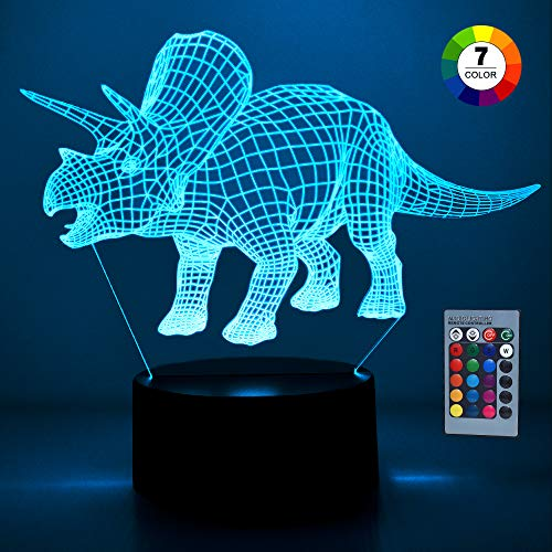 Fricon Dinosaur Toys for 3-12 Year Old Boys, Dinosaur Night Light 7 Colors Changing with Remote Control for Kids Best Christmas Birthday Gifts for Boys Age 3-12 Stocking Fillers Triceratops KMUSDN03