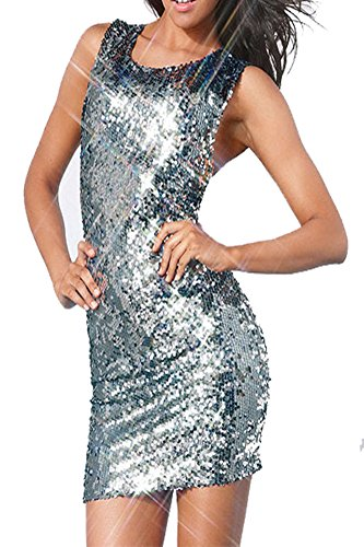 made2envy Sequin Cross Back Dress (M, Silver) C2791A