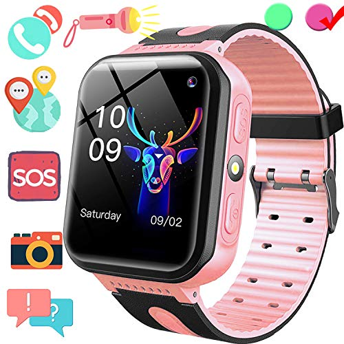 Kid Smart Watch Phone GPS Tracker - 1.5'' Touchscreen GPS Smartwatch with SIM Slot Anti Lost SOS Voice Chat Camera Flashlight Outdoor Wearable Phone Wrist Watch Birthday Gift for Boy Girl Age 4-12