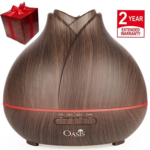 OASIS Essential Oil Diffuser (400ml) - Best Rated Aromatherapy Diffuser - Cool Mist Humidifier with Adjustable Mist Mode and 7 Color Changing LED Lights - Ultrasonic Humidifier Dark Wood Grain - Fish Pet Free Gifts