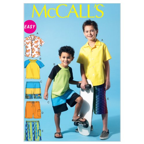 McCall's Patterns M6548 Children's/Boys' Shirt, Top and Shorts, Size CHJ (7-8-10-12-14) - Mccalls Fashion