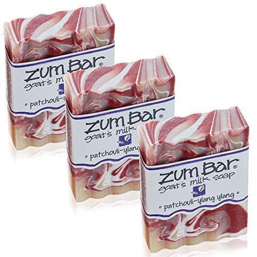 Indigo Wild Zum All Natural Goat's Milk Soap Bar, 3 Ounce - Patchouli-Ylang Ylang (3 Pack)