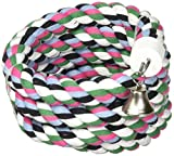A&E CAGE COMPANY 001348 Happy beaks Cotton Rope Boing with Bell Bird Toy Multi-Colored, 1.25X97 in