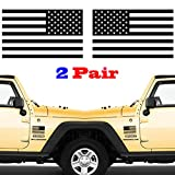 JIAYI 2 Pair Subdued American Flags Tactical Military Flag USA Decal Jeep 5'x3' (Gloss Black) (2 Pair)