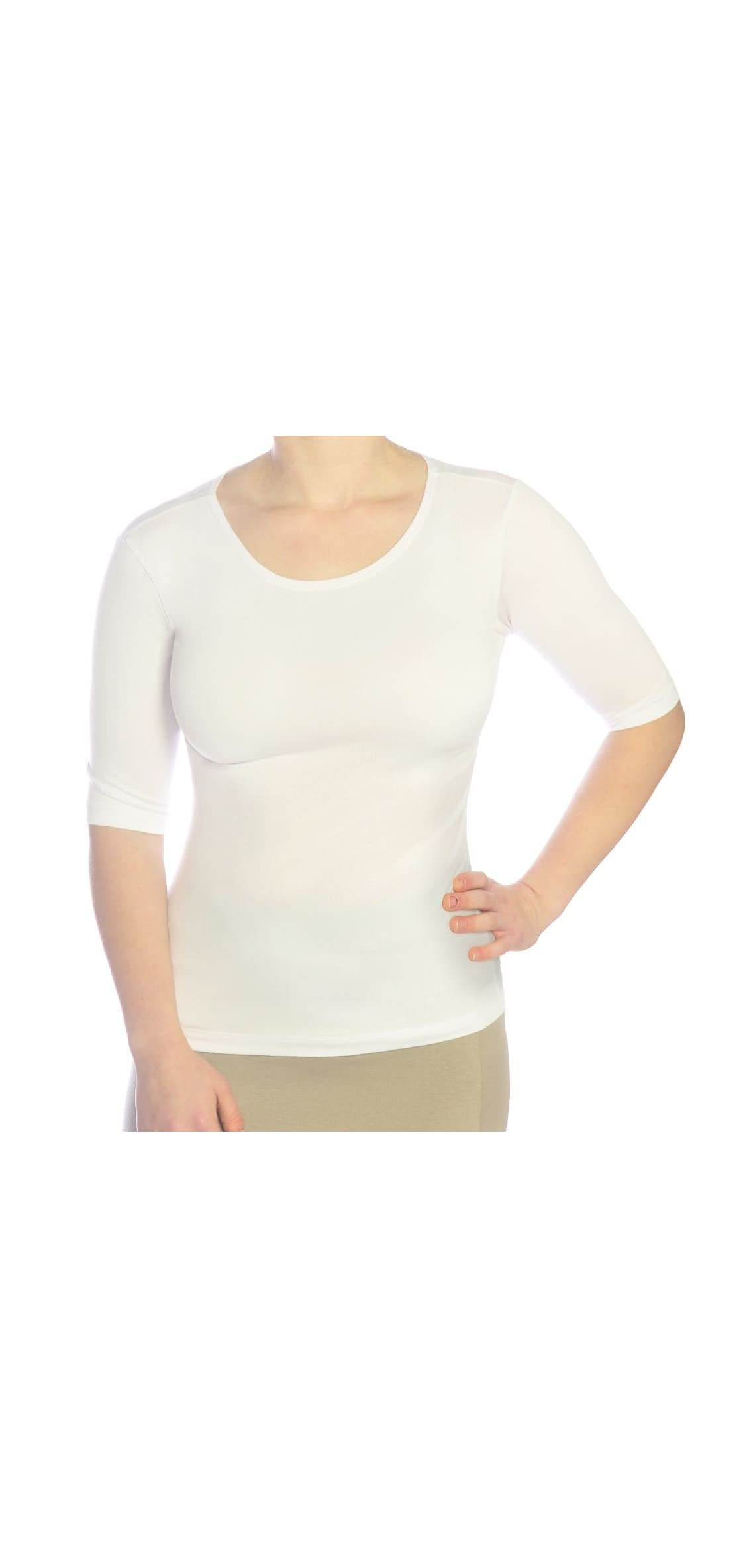 Women's Modest Boat Neck Fitted Layering Top With