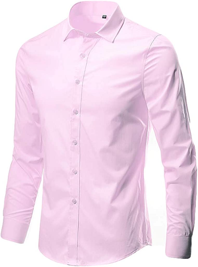 SFE Mens Business Leisure Lapel Pure Color Long-Sleeved Shirt Top Blouse Casual Party Holiday Summer Fashion New 2019