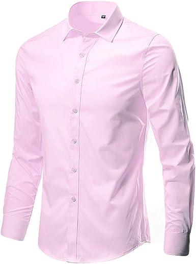 trada - Camisa de Manga Larga para Hombre Basic Business - Camisa de Manga Larga para Negocios, Ocio, Boda, Slim Fit Rosa XL: Amazon.es: Ropa y accesorios