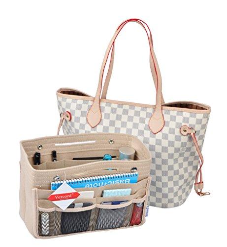 (Vercord Felt Tote Handbag Purse Pocketbook Organizer Insert Divider Shaper Bag in Bag, Medium Mesh Beige)