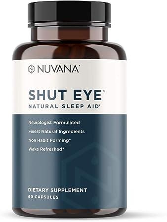 Shut Eye Natural Sleep Aid | Herbal Relaxation Supplement Made with Valerian Root, Melatonin, Chamomile, Magnesium | Insomnia & Anxiety Relief | Extra Strength Sleeping Pills | 60 Vegan Capsules
