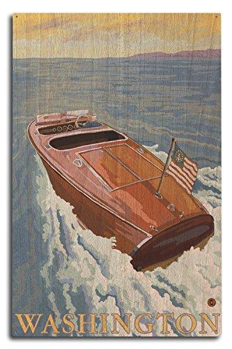 (Lantern Press Chris Craft Boat - Washington (10x15 Wood Wall Sign, Wall Decor Ready to Hang))