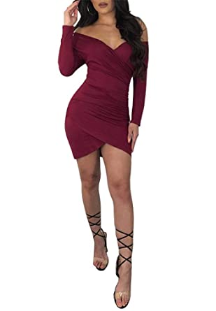 a07ed53307b Nhicdns Womens Dresses Casual Ruched Long Sleeve Irregular Bodycon Mini  Dress at Amazon Women's Clothing store: