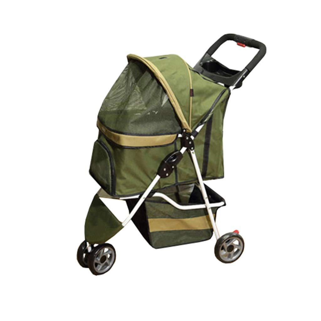 Green Ryan Dog Pushchair, Stroller Pram Carrier Travel Outdoor Pet Trolley Cat Cart Foldable For Medium Small Dogs 3 Wheel Jogger (color   Green)