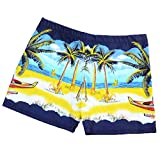 Men's Swimwear Square Leg Coconut Tree Print Swimsuits Surf Boxer Brief Trunks Shorts