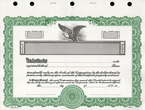 KG 2 Stock Certificate, Green Border, Pack of (Company Stock Certificate)