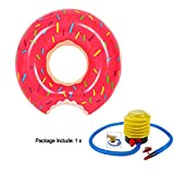 Sealive Strawberry Donut Pool Floats Inflatable Swim Ring Spring Summer Water Toys Swimming Floats with a air pump,Perfect For Kids Children Adult,For Family Funny Beach Water Time (L)