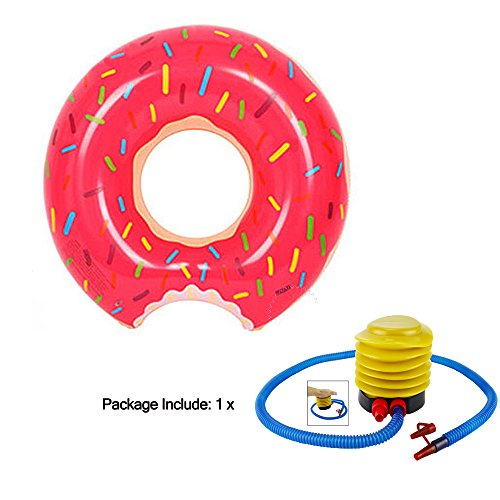 Inflatable Donuts for Pool Red Swimming Ring Baby Kids Adults Pool Beach Swimming Float,Donut Pool Float With a  Inflator Pump,Water Play Swimming Tools Summer  Set for Age 3-15 (L2(35In))