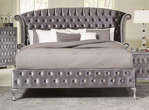 Coaster Home Furnishings 205101KE Upholstered Bed, Grey Metallic