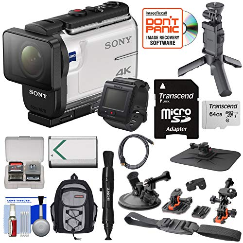 Sony Action Cam FDR-X3000R Wi-Fi GPS 4K HD Video Camera Camcorder & Live View Remote + Shooting Grip Tripod + Action Mounts + 64GB Card + Battery + Backpack - Microphone Camera Sony Video