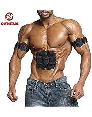 Olymstars Ceinture Abdominale Electrostimulation, 3 en 1 Electrostimulateur Musculaire EMS, ABS Stimulateur Musculaire pour Perdre Gras/Renforcer Muscles/Soulager la Fatigue avec 20 Gel Coussinets