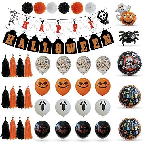 AIRERA Juego de decoración para Halloween, 28 piezas, pancarta de Halloween, globos de película de aluminio, calabazas, araña, globos de látex, borlas de papel, bolas de flores para fondo de Halloween