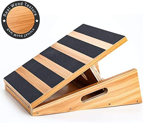 Professional Wooden Slant Board, Adjustable Incline Board and Calf Stretcher, Stretch Board – Extra Side-Handle Design for Portability