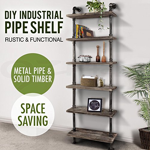 Cheap  Diwhy Industrial Rustic Modern Wood Ladder Pipe Wall Shelf 6 Layer Pipe..