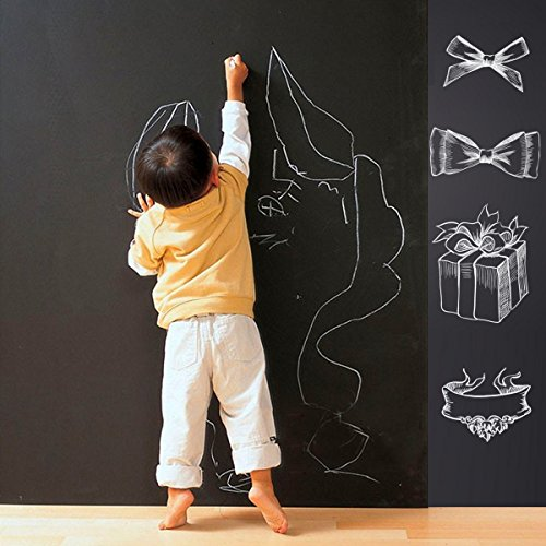Chalkboard Decal 17.7by78.7inch Self Adhesive Wall Sticker Wall Decor with 5 Colored Chalk Blackboard Contact Paper Vinyl Chalk Board Paint Alternative Home Office Workshop Bar Decor