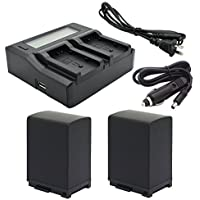 Kapaxen Two Intelligent Batteries + Dual Channel LCD Charger for Canon BP-828 and VIXIA HF G30, XA20, XA25 Camcorders