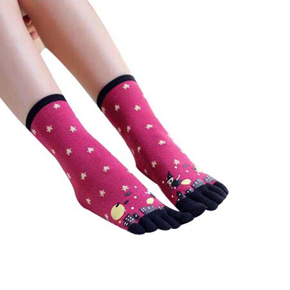 Rose Red mittlere Rohr Fünf-Finger-Socken Damen Bequeme Mannschaft Zehensocken Blancho Bedding