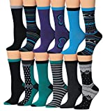Tipi Toe Women's 12-Pairs Colorful Patterned Crew Socks, (sock size 9-11) Fits shoe size 5-9, WC21-AB