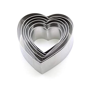 Molde para Mousse en Forma de corazón de Acero Inoxidable para Hornear Molde para Torta de 6 Piezas Molde para Pastel de tiramisú,Plata,Un tamaño: ...
