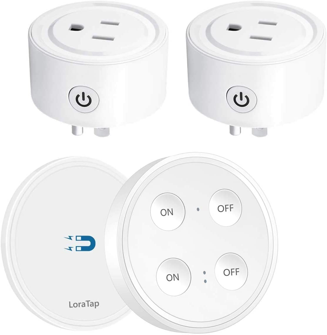 LoraTap Mini Remote Control Outlet Plug Adapter with Remote, 100ft Range Wireless Light Switch for Household Appliances, No Hub Required, 10A/1100W, White, 5 Years Warranty (One Remote + 2 Outlets)