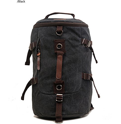 YTM(TM)Mountaineering Canvas Bag Portable Diagonal Travel Bag Canvas Drums Laptop Backpack Hiking Camping Canvas Bucket Shoulder Bag for Man and Male(Black)