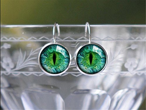 Silver Leverback Earrings - Fantasy Animal Art Space Picture Ladies Womens Gift- Green Cats Eye
