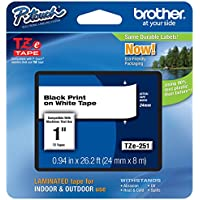 Genuine Brother 1 (24mm) Black on White TZe P-touch Tape for Brother PT-2700, PT2700 Label Maker with FREE TZe Tape Guide Included