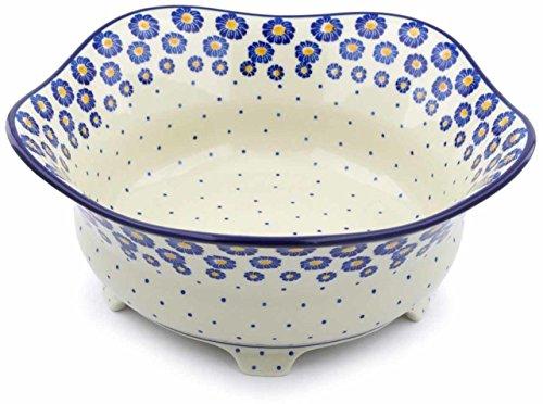 Polish Pottery 12-inch Bowl made by Ceramika Artystyczna (Wreath Of Blue Theme) + Certificate of Authenticity by Polmedia Polish Pottery