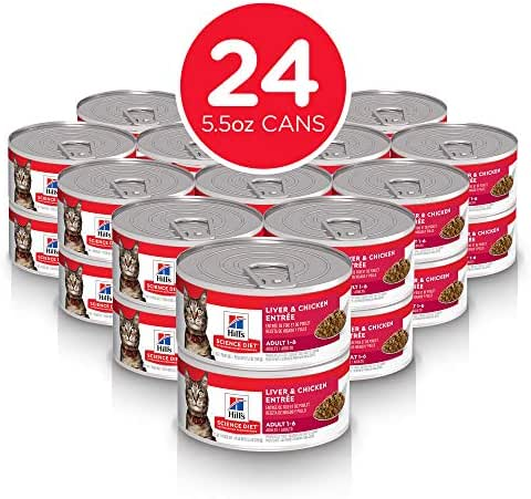 Hill's Science Diet Wet Cat Food, Adult, Liver & Chicken Recipe, 5oz Cans, 24 Pack