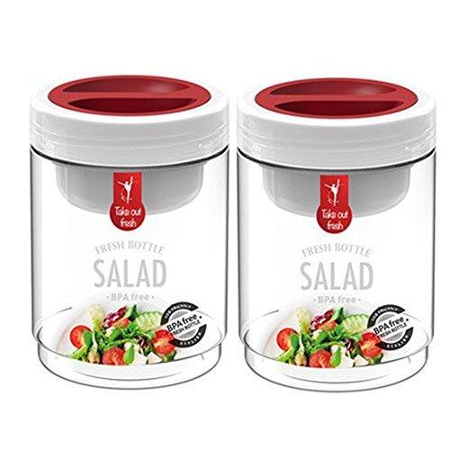 Komax Salad Bottle Jar Set of 2 with Salad Sauce Dressing Case Leak Proof BPA Free 750ml by Komax