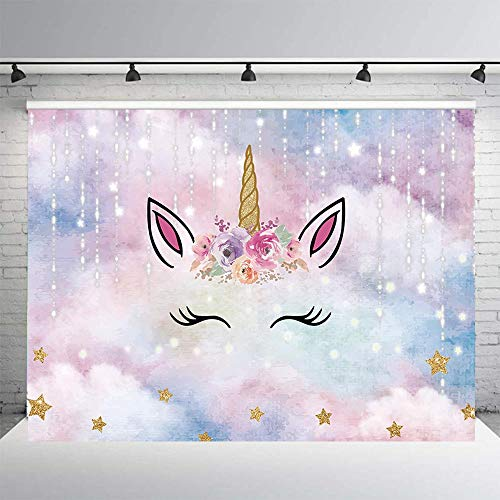 - Allenjoy 8x6ft Unicorn Backdrop for Kids Birthday Pink Sky Silver Meteor Gold Star Flowers Sparkling Horn Girls Party Decoration Background Photobooth Props Baby Shower Cake Table Banner
