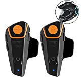 QNIGLO BT-S2 Bluetooth Motorcycle Motorbike Helmet Intercom Interphone Headset for 2 or 3 riders for Walkie Talkie MP3 player FM radio (2Pack)