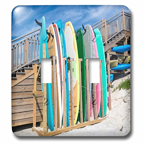 3dRose Danita Delimont - Beaches - Surfboards on Alys Beach, Seacrest, Florida, USA - Light Switch Covers - double toggle switch (Seacrest 2 Light)