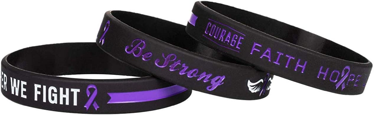 Purple Cancer /& Cause Ribbon Wristbands Gifts for Men Women Sainstone Purple Awareness Ribbon Silicone Bracelets with Saying Family Friends Patients Mental Health Awareness Bracelet