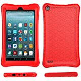 Fire 7 2017 Case Cover-TIRIN Light Weight Shock Proof,Skid Proof Soft Silicone Back Cover Case Fire 7 2017(Do not Fit Fire 7 2015),Red