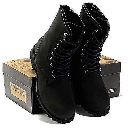 0fec41ae8437 ... Männer Hoch-Kampf-Stiefel schnüren sich Lederschuhe mit Verpackung-  Schwarz,-Größe ...