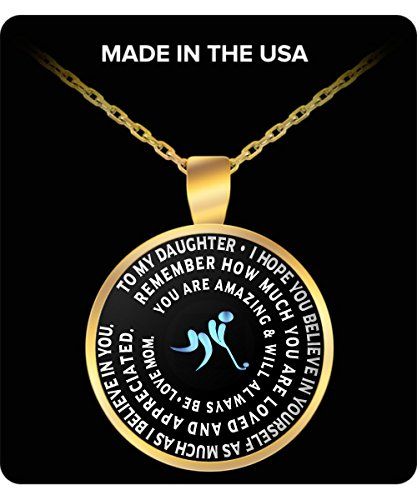 Field Hockey Pendant - Gold Chain Necklace – To My Daughter - Gift From Mom - Inspirational Charm (Gift Delivery Seattle)