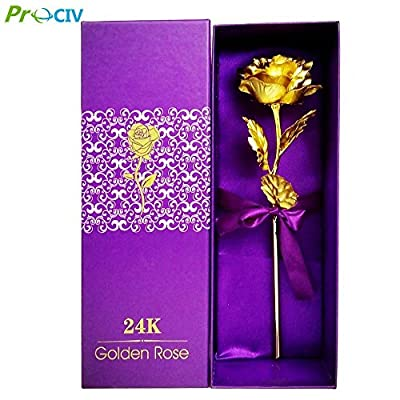 ProCIV Foil Rose Full Blossom Budding Gold Plated Rose Presents for Birthday, Gift for Girlfriend, Party, Wedding, Mother's Day, Romantic Gift for Her in Gift Box (Purple)