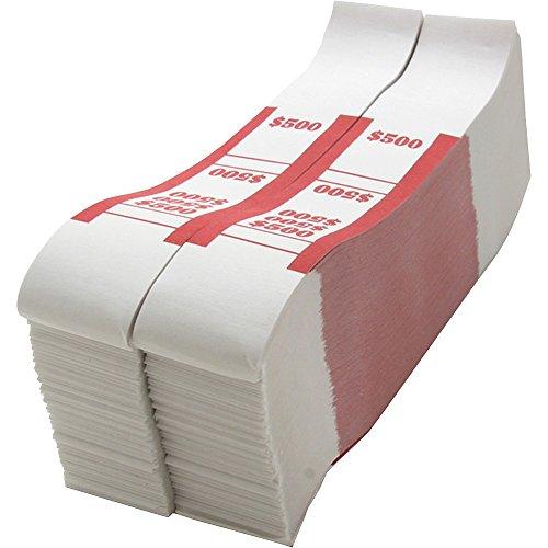 Sparco Bill Strap, 500, 1000 per Box, White/Red (SPRBS500WK)