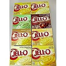 Jello Instant Pudding Assorted Variety Family Pack 3.40z (8 Pack) Pistachio-Cheesecake-Coconut & Banana Cream-Chocolate Fudge-French Vanilla-Vanilla-White Chocolate