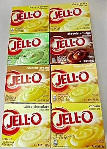 Jello Instant Pudding Assorted Variety Family Pack 3.40z (8 Pack) Pistachio-Cheesecake-Coconut & Banana Cream-Chocolate Fudge-French Vanilla-Vanilla-White - Fudge Cheesecake